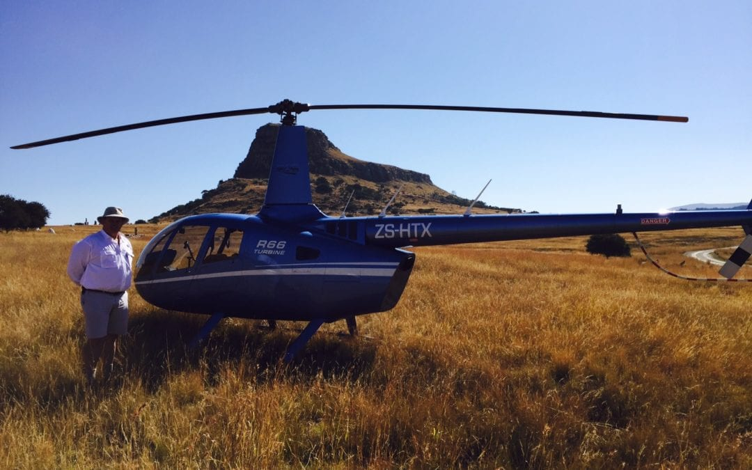 Up in the sky by helicopter